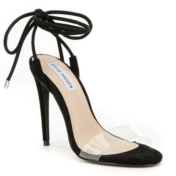 2c26f618522 Steve Madden Lyla wrap heels rope black suede open.  M 5a98c66f9cc7ef4eab721d7c